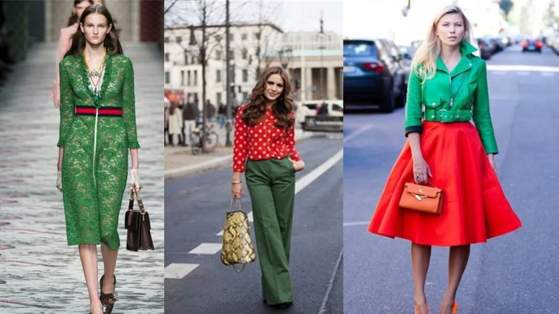 complementary colours outfits red and green