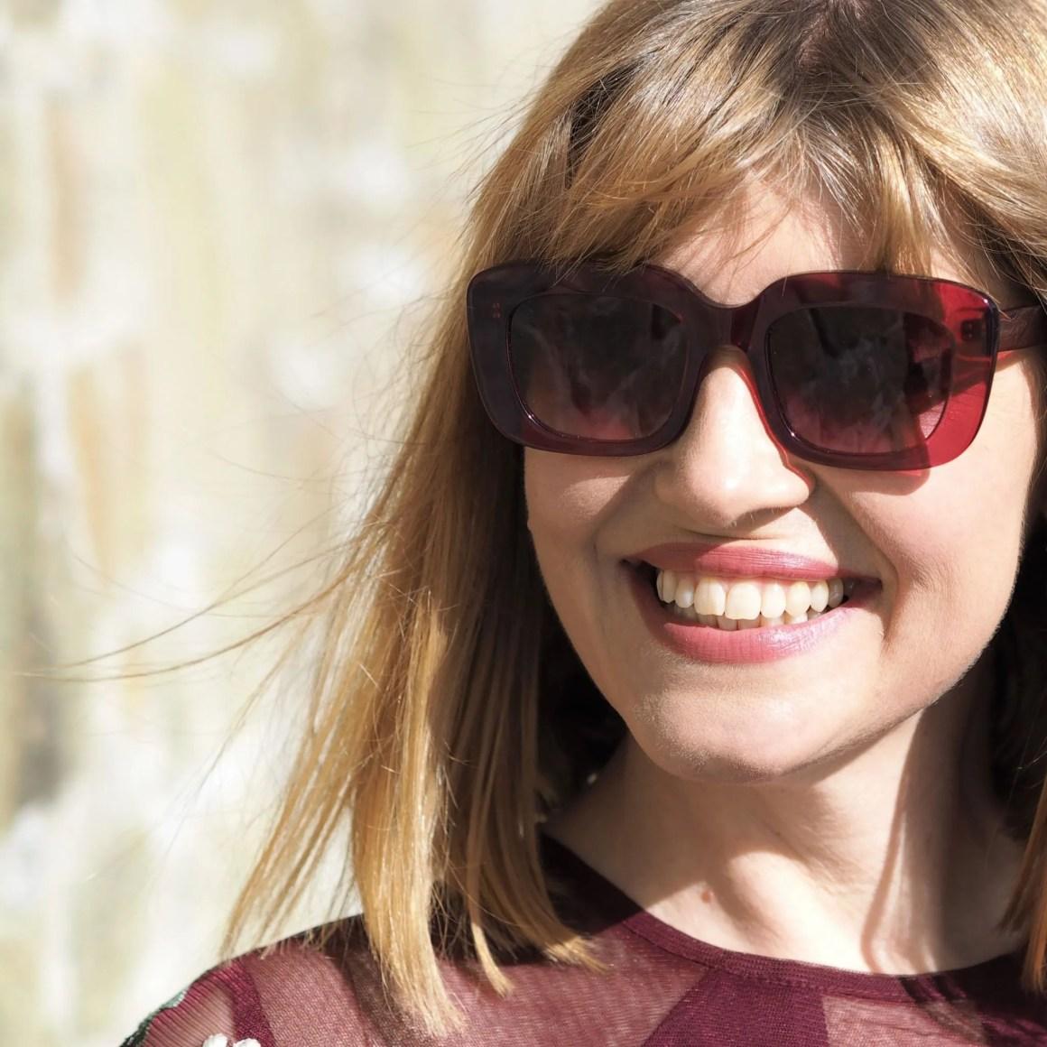 berry acetate square sunglasses