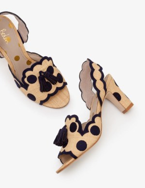Boden Clover Raffia And Spot Embroidered Heels