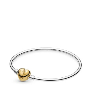 Pandora Silver bangle With Gold Heart