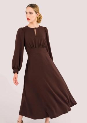 Closet Brown Puff Sleeve Midi Dress