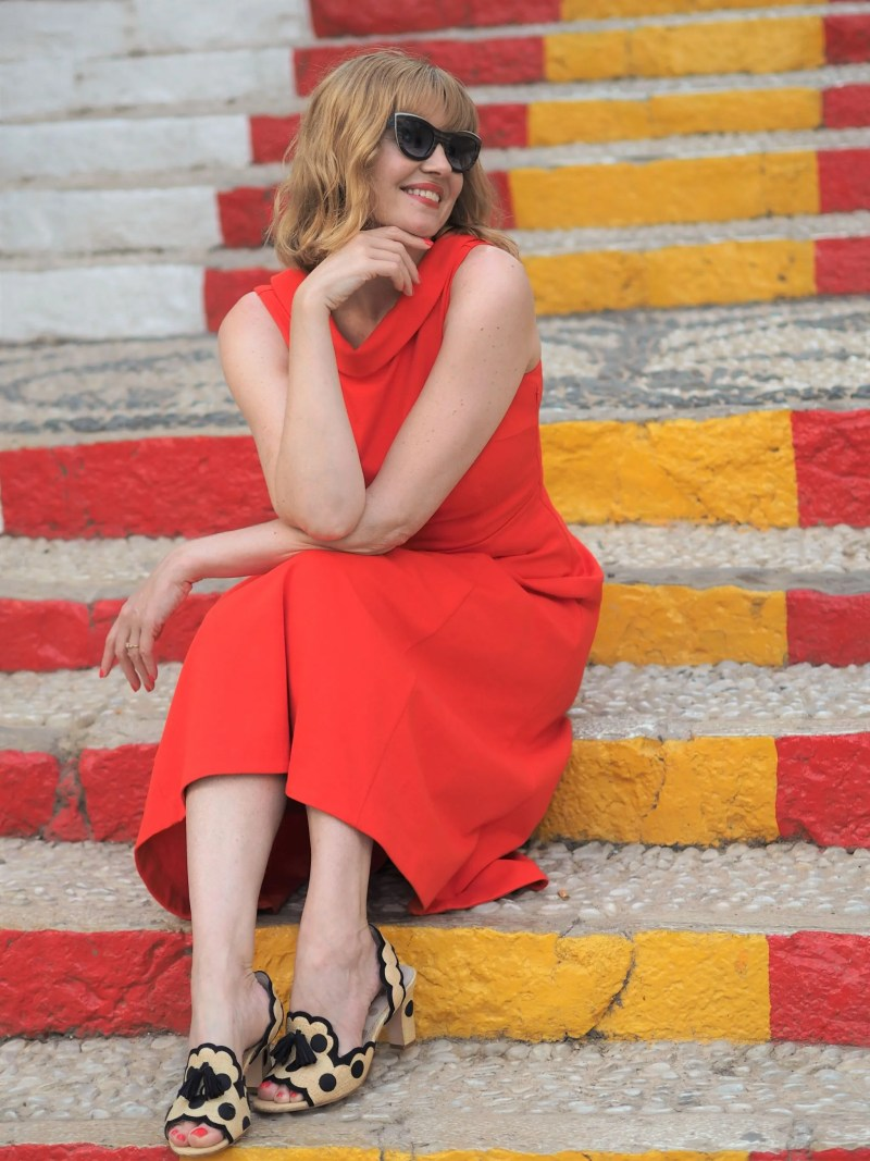 Red painted steps in Calpe