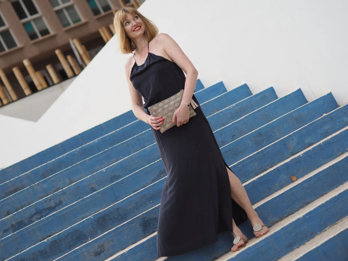 Navy silk halterneck dress