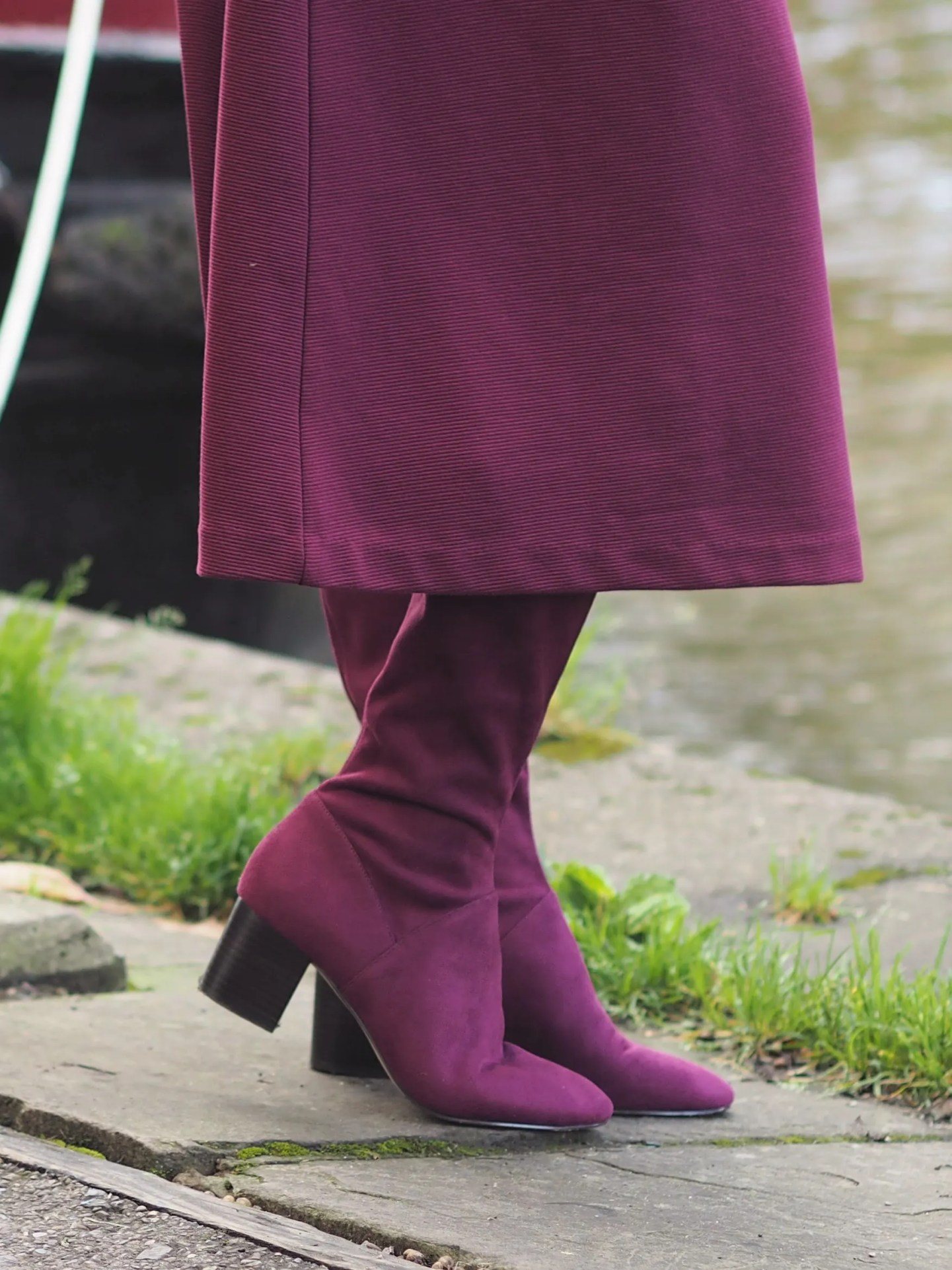 Burgundy knee high boots
