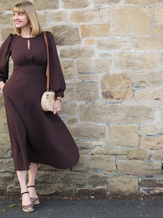brown midi dress