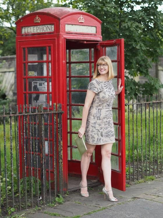 sequin dress-khaki-kata-eyewear-red-telephone-box
