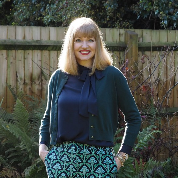 Boden navy pussy bow blouse and cropped green cardigan