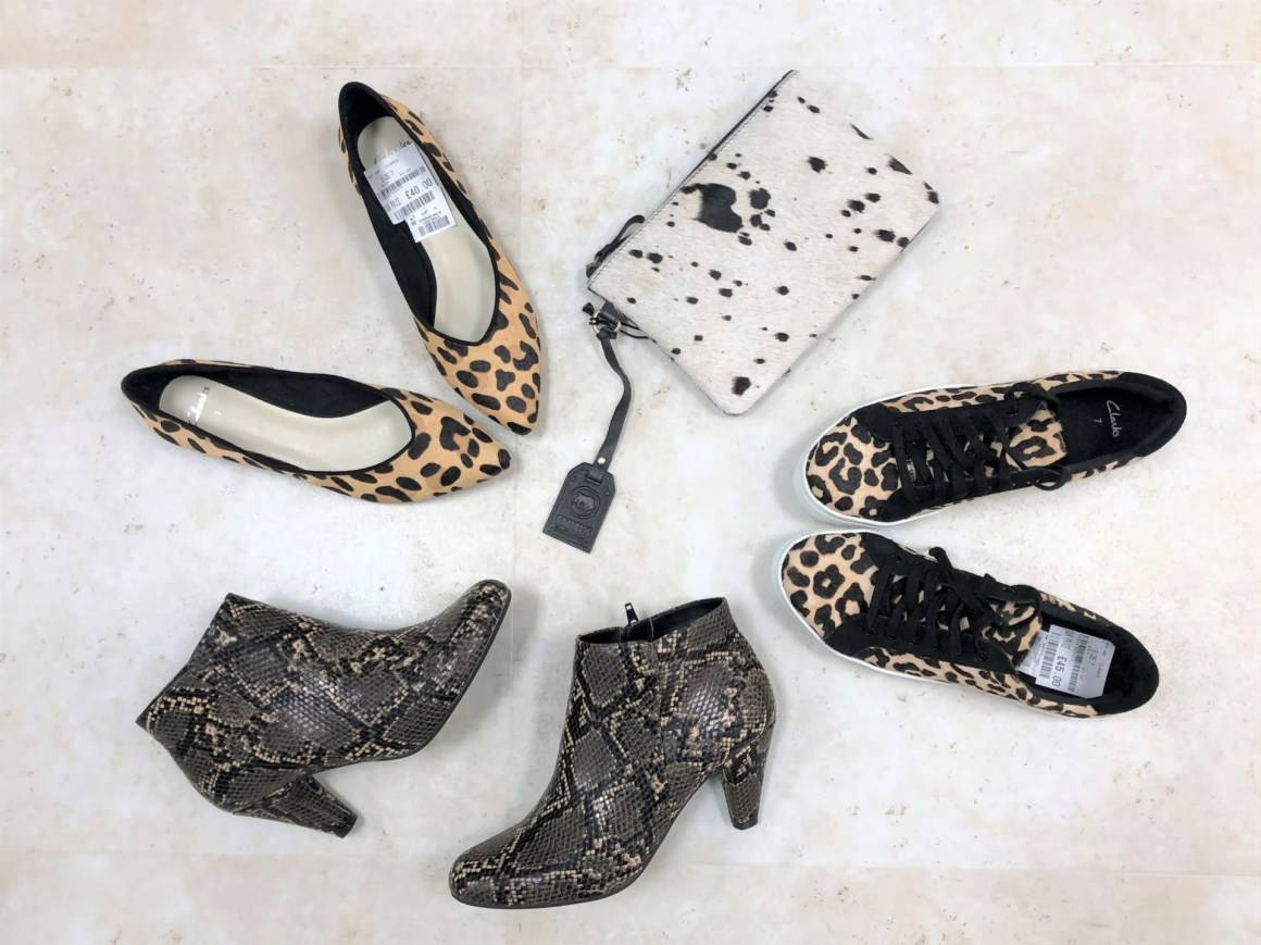 clarks animal print footwear