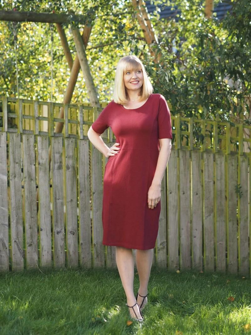 burgundy tunic dress with pockets