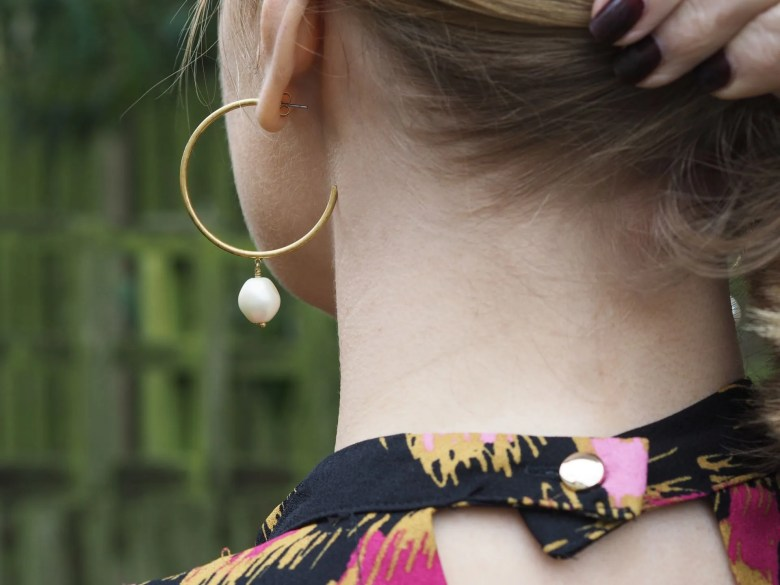 gold hoop earrings with glass pearl