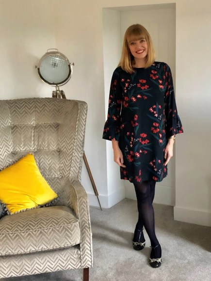 Work outfit floral dress with opaque tights