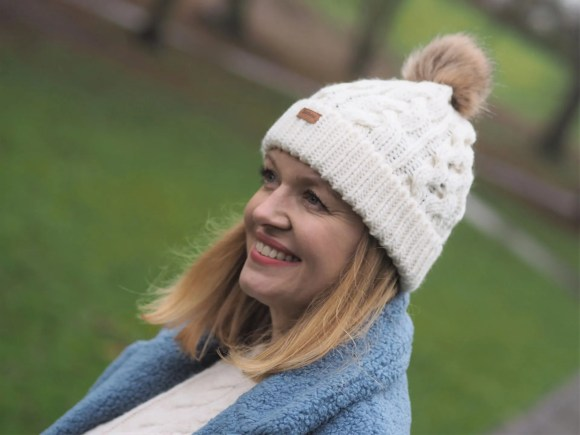 cream cable pompom hat
