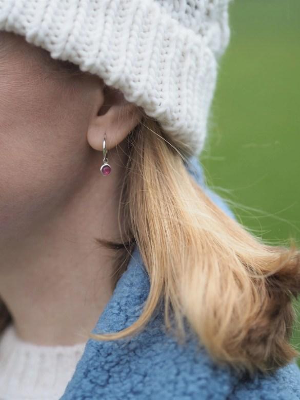 silver and tourmaline birthstone hoop earrings