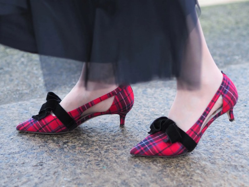 tartan shoes with velvet bow