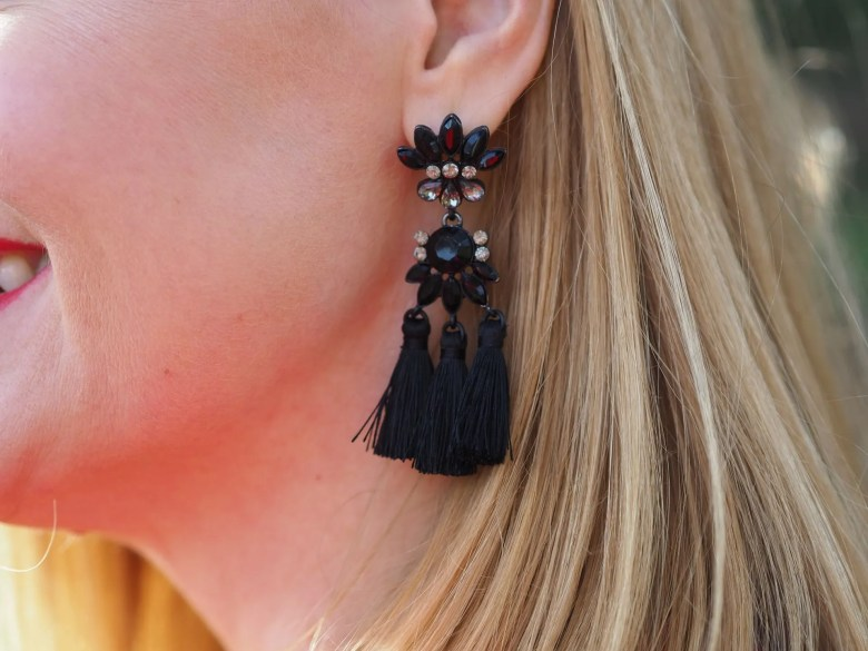christmas day outfit black tassel earrings