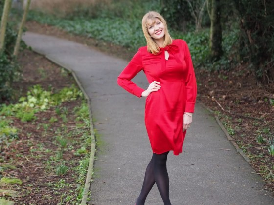 Boden red satin bow dress