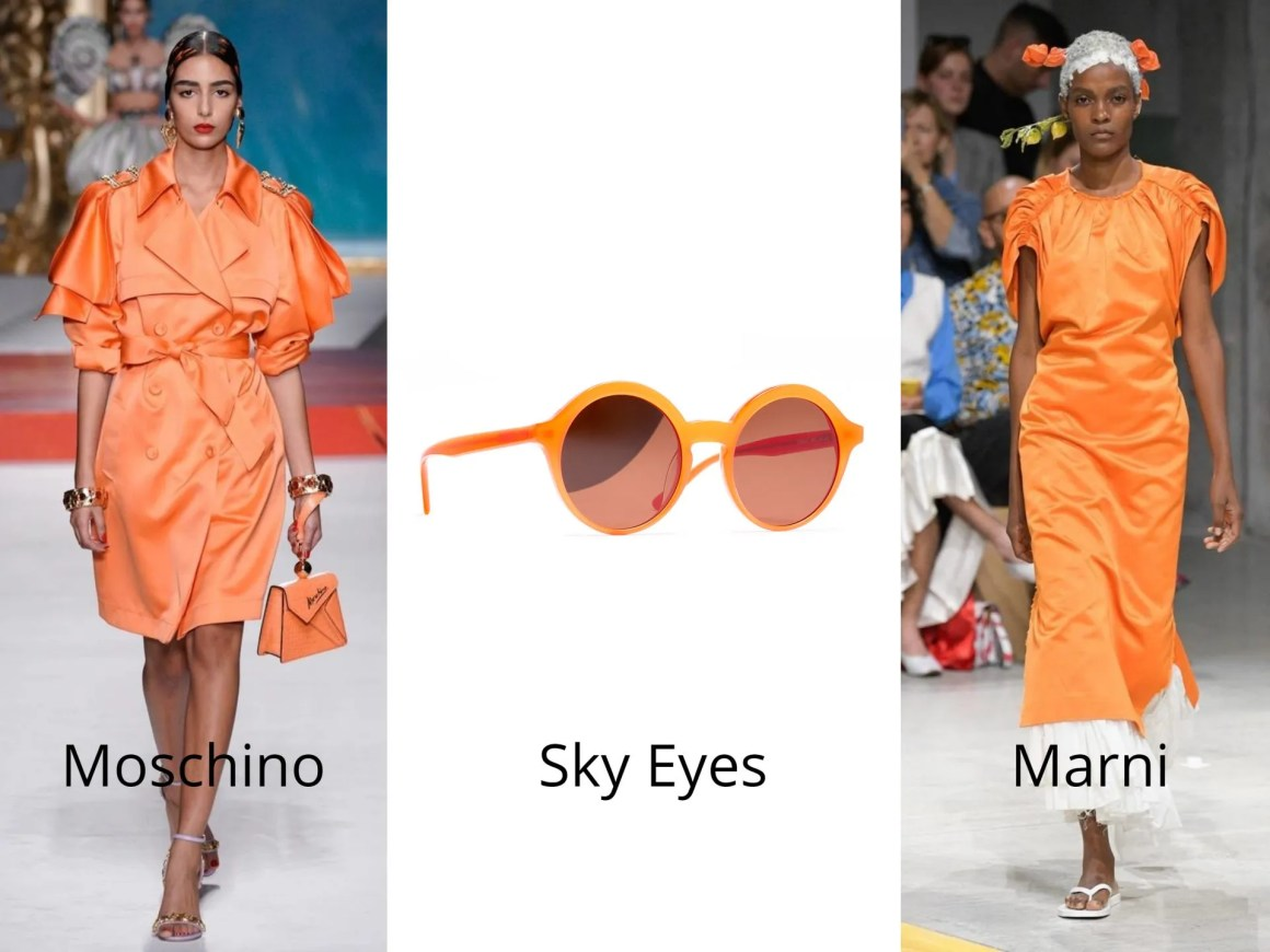 neon orange fashion and sunglasses 2020