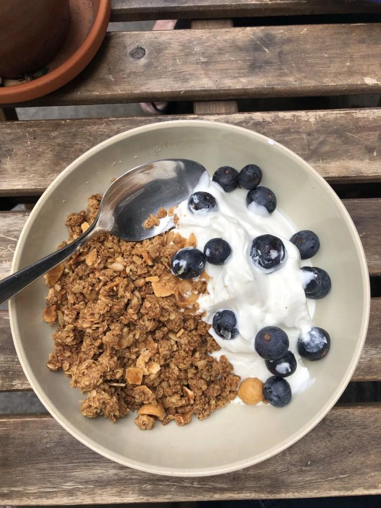 yogurt, granola and blueberries