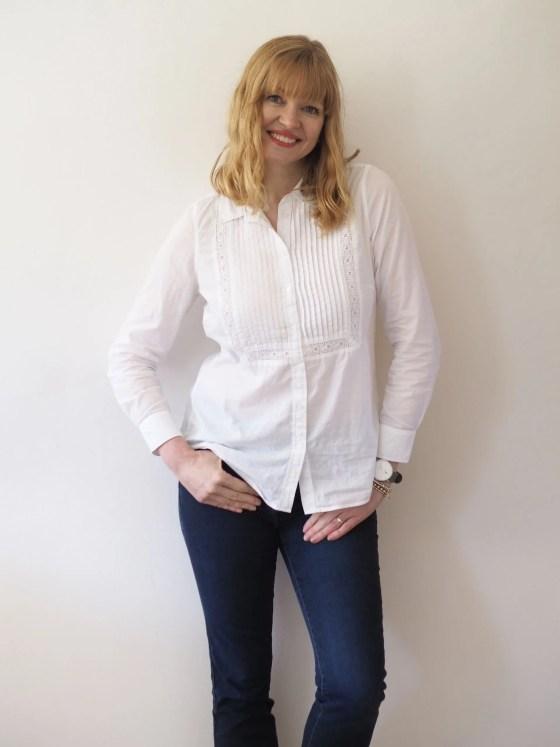 white cotton pintuck shirt