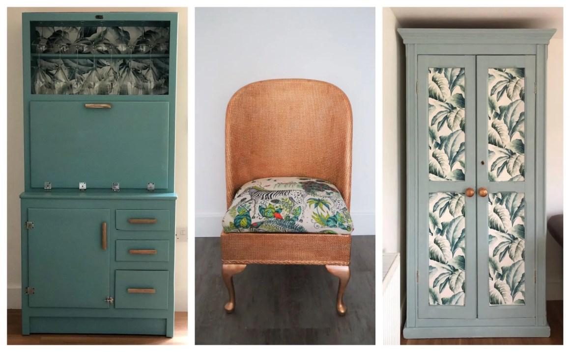 dusk egg blue furniture with monstera leaf wallpaper