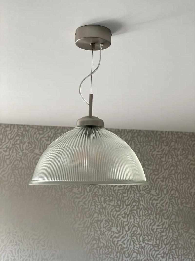 glass pendant light living room makeover