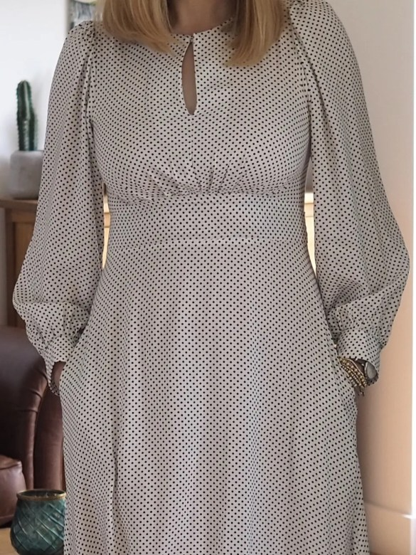 puff sleeve polka dot midi dress