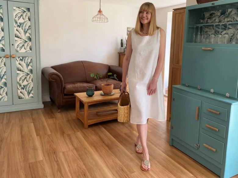 dressing cool in white linen dress