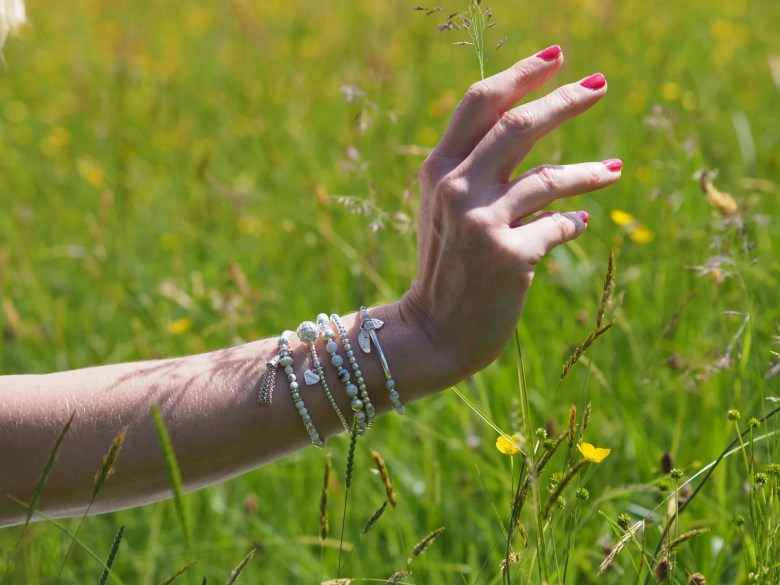 white stacking howlite bracelets