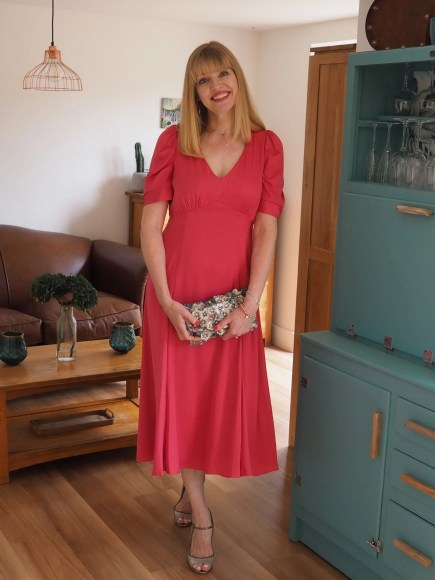 raspberry coral silk ruched sleeve dress
