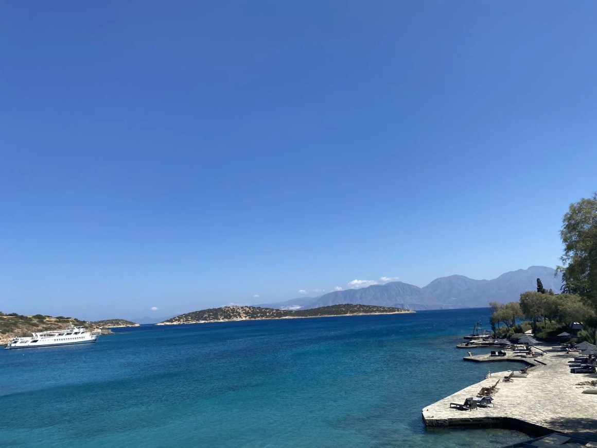 view from Terpsis restaurant Minos Beach Art Hotel, Crete