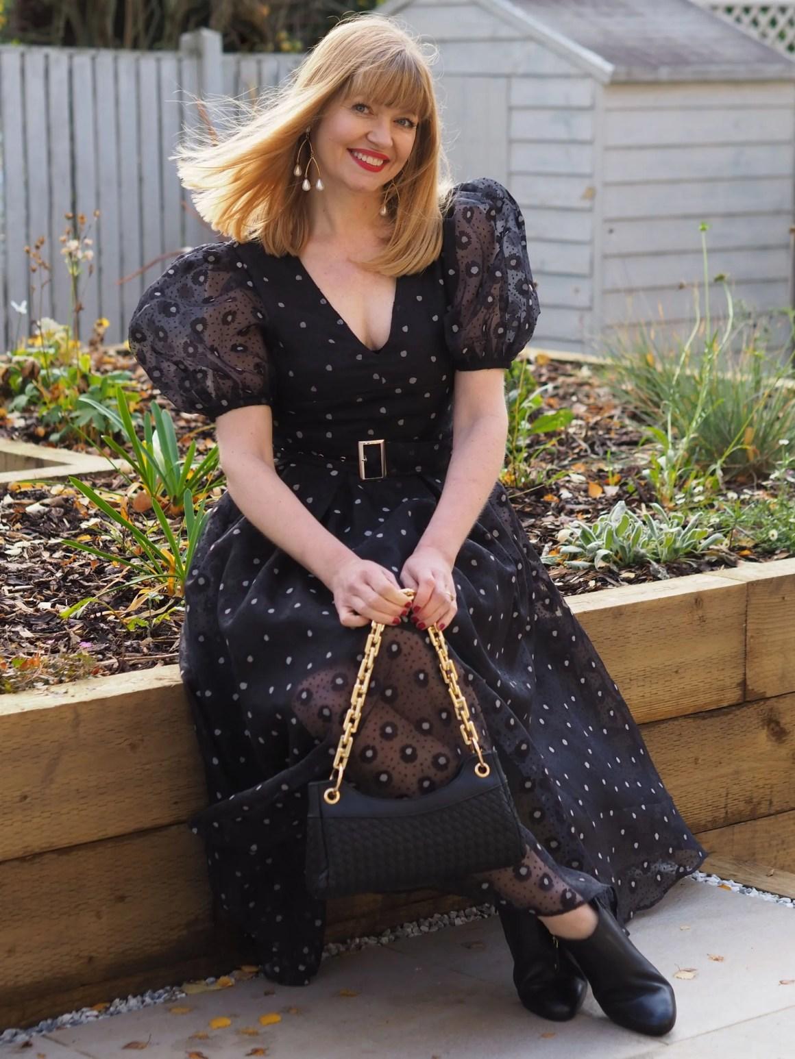 Coast puff sleeve black and white organza dress