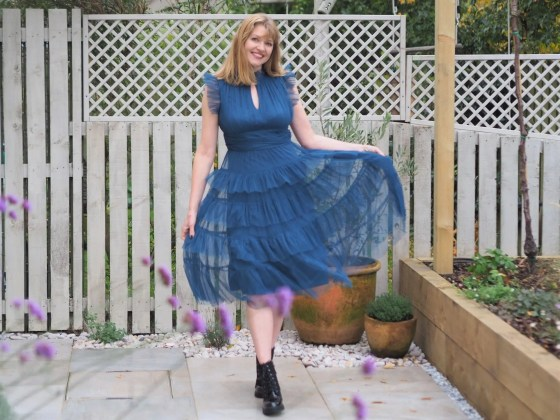 coast ruffle dress with Doc Marten style boots