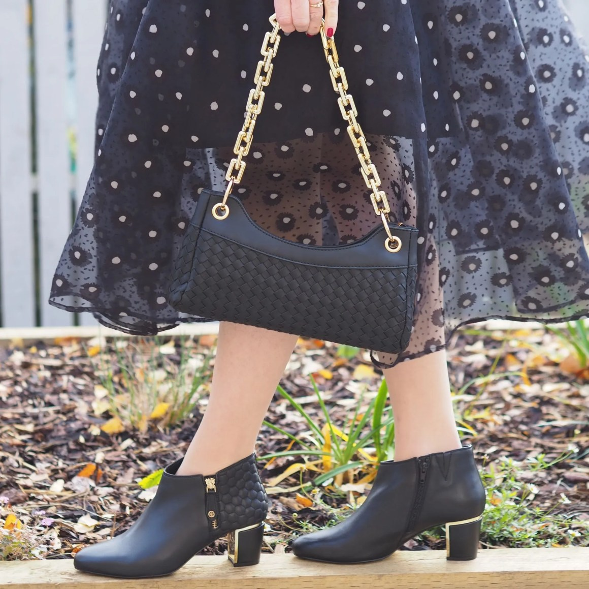 black quilted ankle boots with gold hardwear