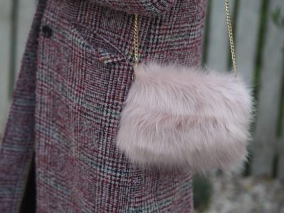 blush pink faux fur bag