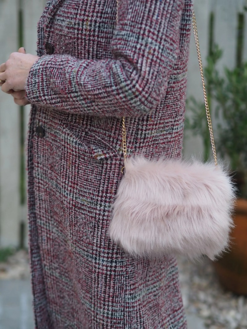 blush pink faux fur bag