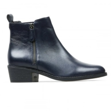 midnight blue leather ankle boot