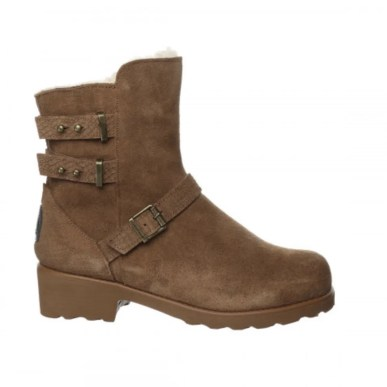 tan suede chunky sole biker boot