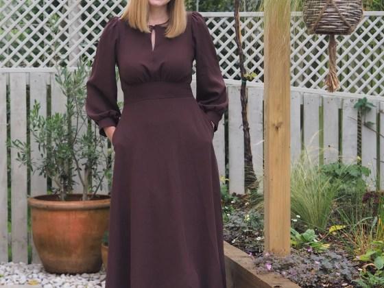 brown puff sleeve midi dress my birthday