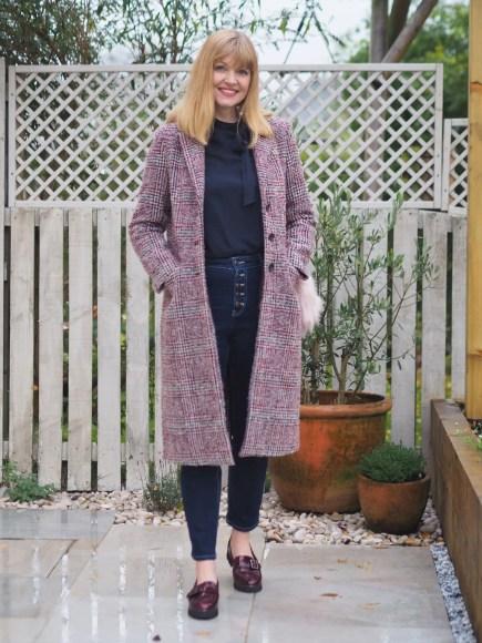 pink tweed coat outfit
