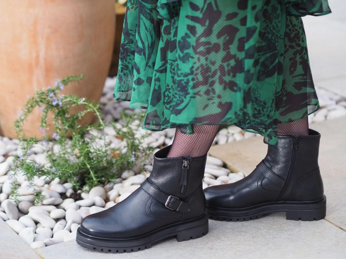 Scarlett biker boots by Lotus shoes