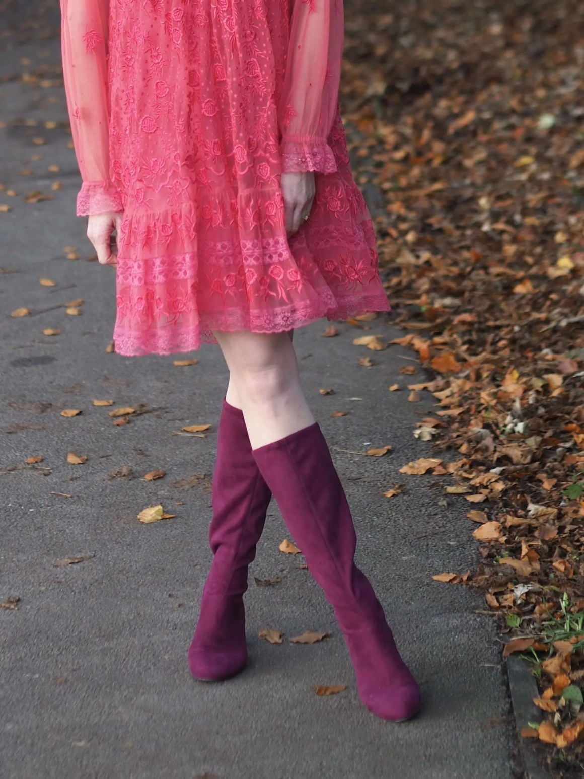 Coral lace dress and burgundy knee high boots