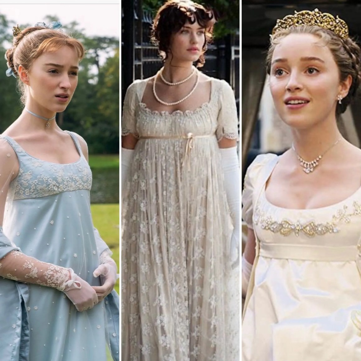 Regency style dresses from Bridgerton