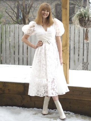 ivory floral lace dress