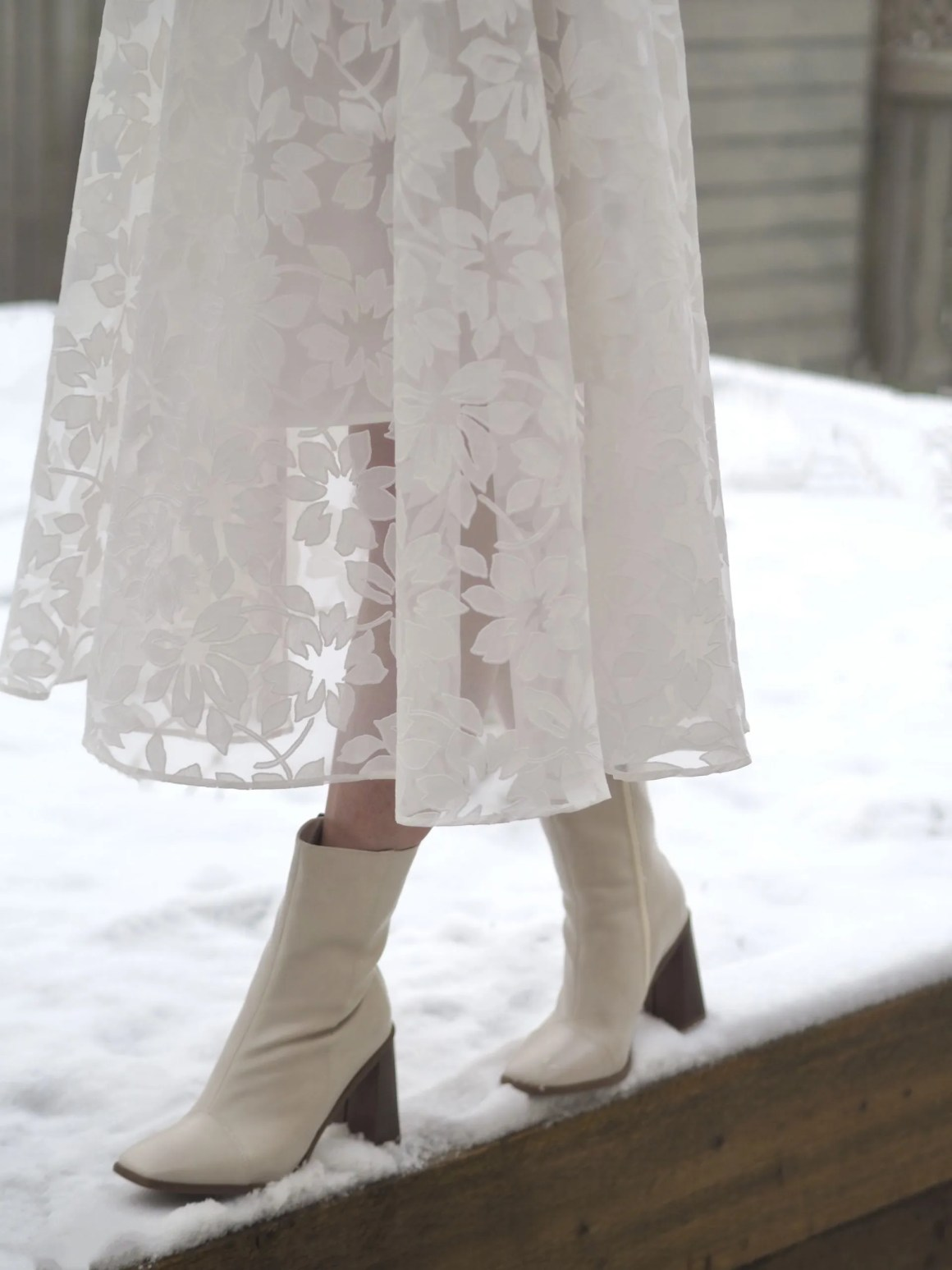 ivory ankle boots with contrasting heel