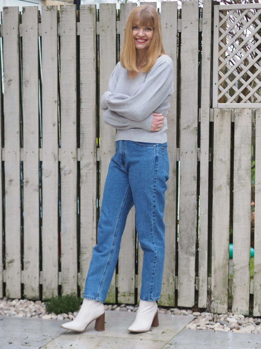 mom jeans, grey jumper, ivory ankle boots