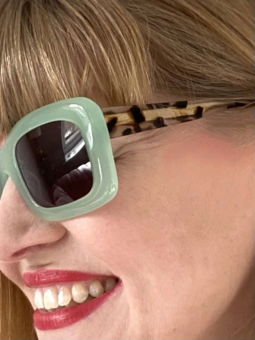 Light mint green square sunglasses with contrasting tortoiseshell sides