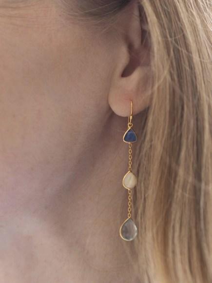 Quartz and pearl drop earrings