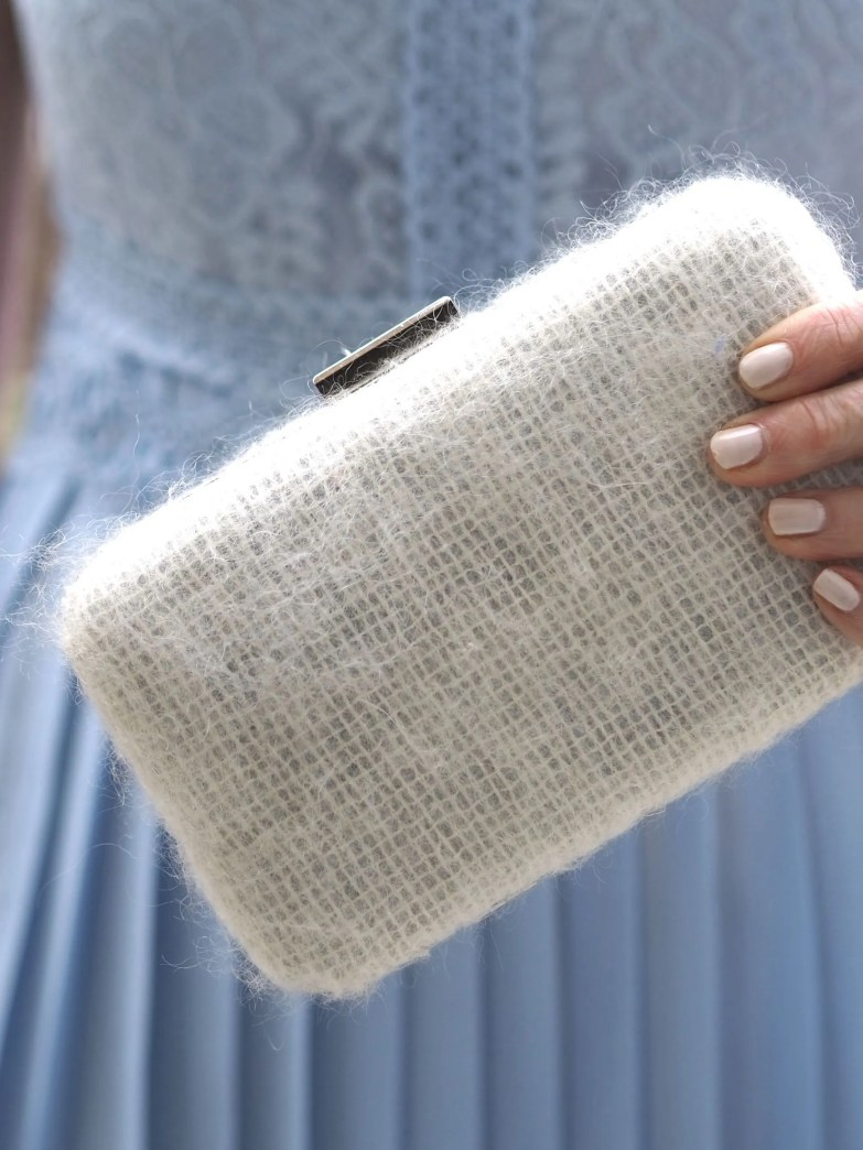 Ivory mohair clutch bag