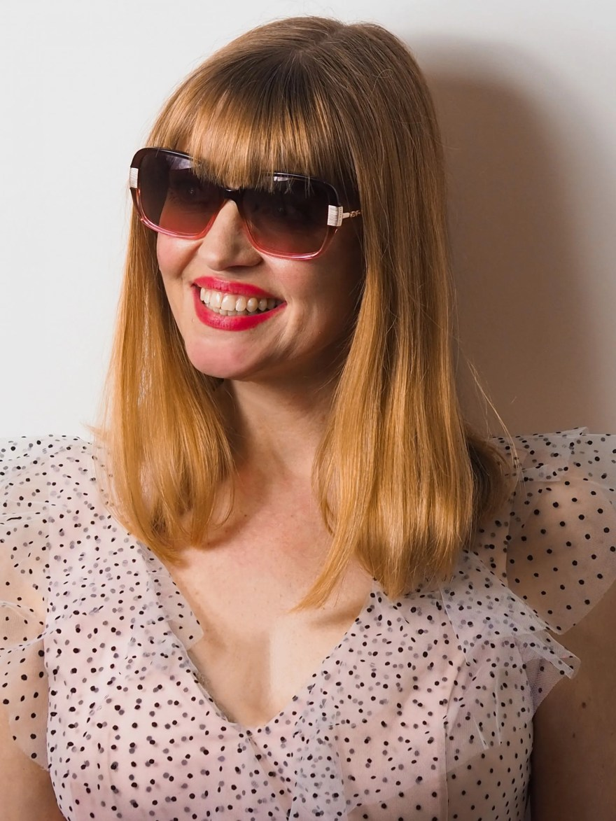 square pink sunglasses by Ted Baker