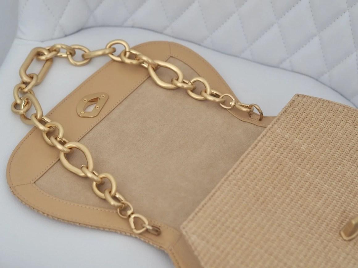 rattan and suede handbag